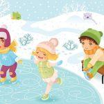Анимационные дети катаются на замёрзшем пруду