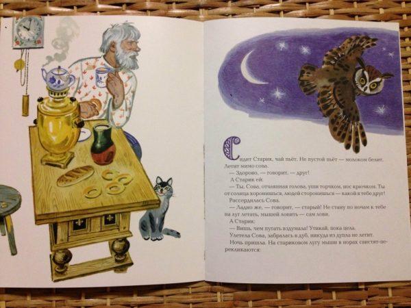 Разворот книги В. Бианки Сова