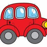 Красная машинка для пазла на три детали