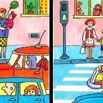 Картинка для поиска отличий Пешеходный переход и машины на дороге