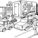 Шаблон для раскрашивания Регулировщик свистит нарушителю-велосипедисту