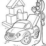Шаблон для раскрашивания Светофор даёт сигнал машинке с загруженным багажником