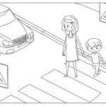 Шаблон для раскрашивания Женщина с ребёнком переходят дорогу