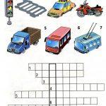 Кроссворд с транспортом, светофором и зеброй
