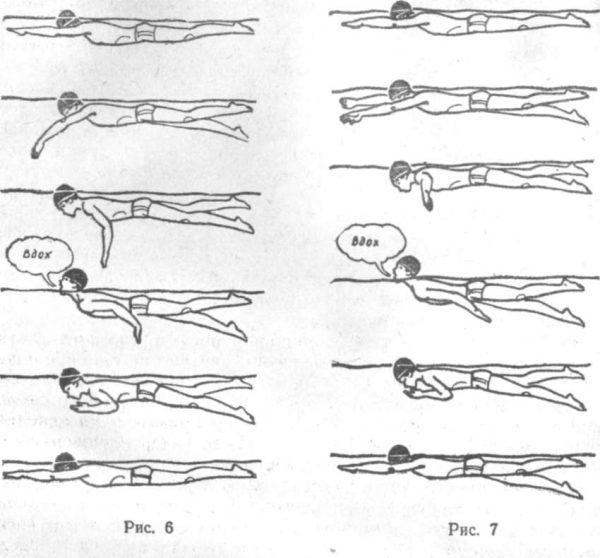Облегчённые техники плавания кролем на груди