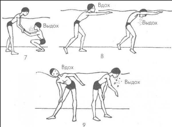 Упражнения в бассейне для обучения правильному дыханию