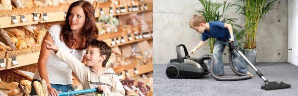 Мама с сыном делают покупки в супермаркете, мальчик пылесосит комнату