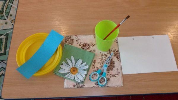 Материалы для ленточной аппликац ии (белая основа, полоса голубой бумаги, ножницы, стаканчик для клея,кисть, клеёнка. тряпочка)