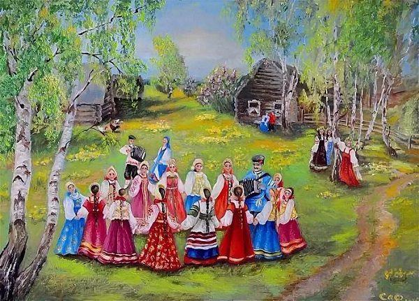 Хоровод во время народного гулянья на Руси