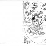 открытка с парой детей на коньках