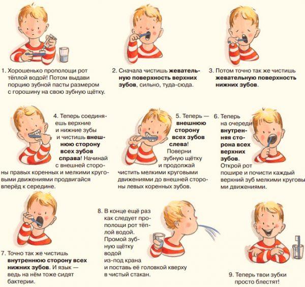 Схема чистки зубов для детей с пояснениями