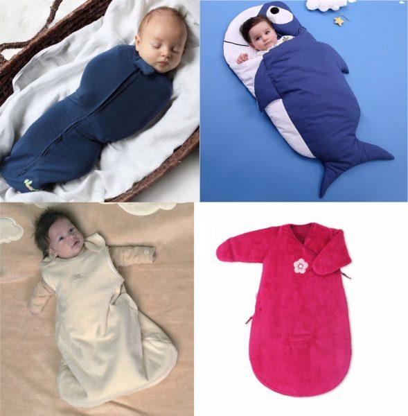 Разные виды спальных мешков для младенцев
