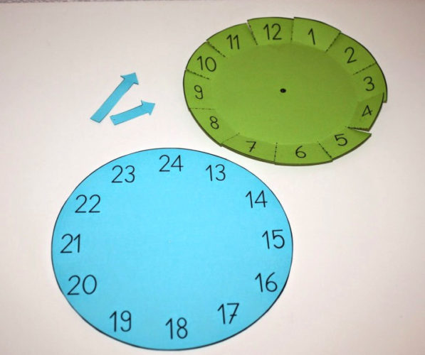 Два картонных циферблата зелёного и голубого цвета с цифрами от 1 до 12 и от 13 до 24