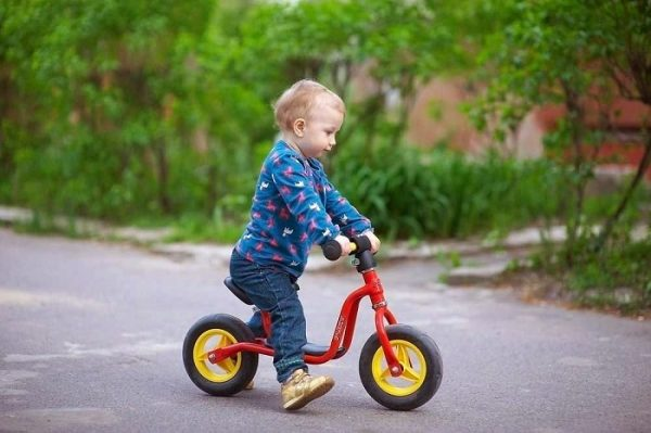 Мальчик примерно 1,5–2 лет на беговеле