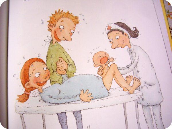 Картинка из книжки: врач принимает роды