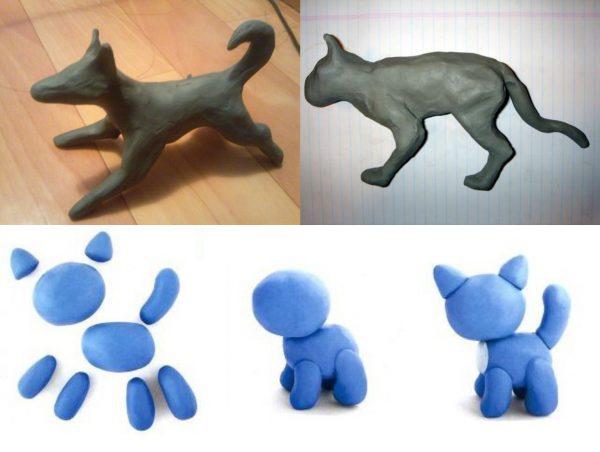 Собака и кошка скульптурным способом; котёнок конструктивным методом