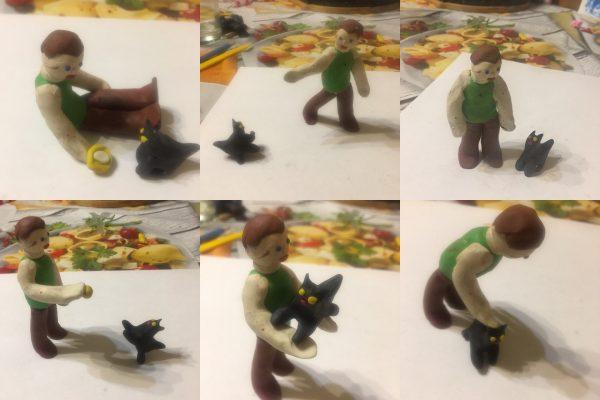 Вариант композиции «Ребёнок играет с котёнком»