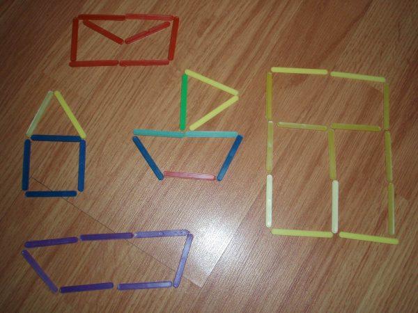 Фигуры, выложенные из счётных палочек