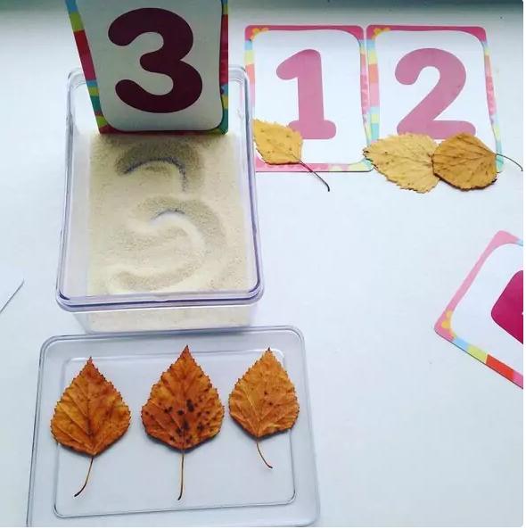 Цифра 3 выведена на манке пальчиком; возле цифр 1,2 и 3 лежит соответствующее число листиков