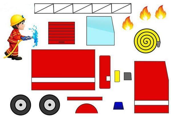 Шаблон пожарной машины для аппликации
