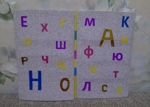 Распашная обложка с буквами